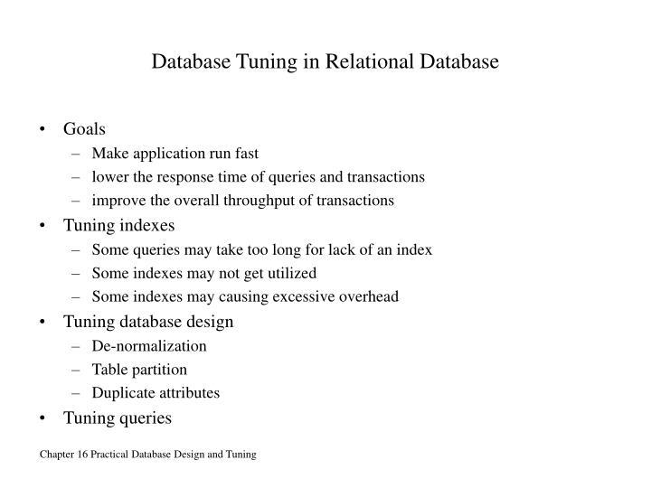 Database Tuning in Relational Database