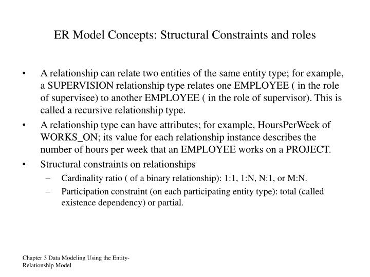 ER Model Concepts: Structural Constraints and roles