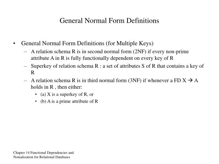 General Normal Form Definitions