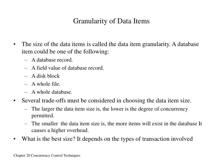Granularity of Data Items