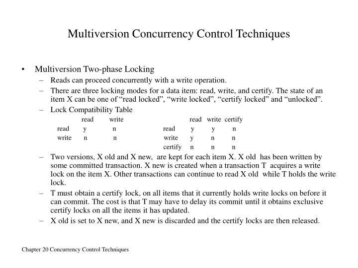 Multiversion Concurrency Control Techniques