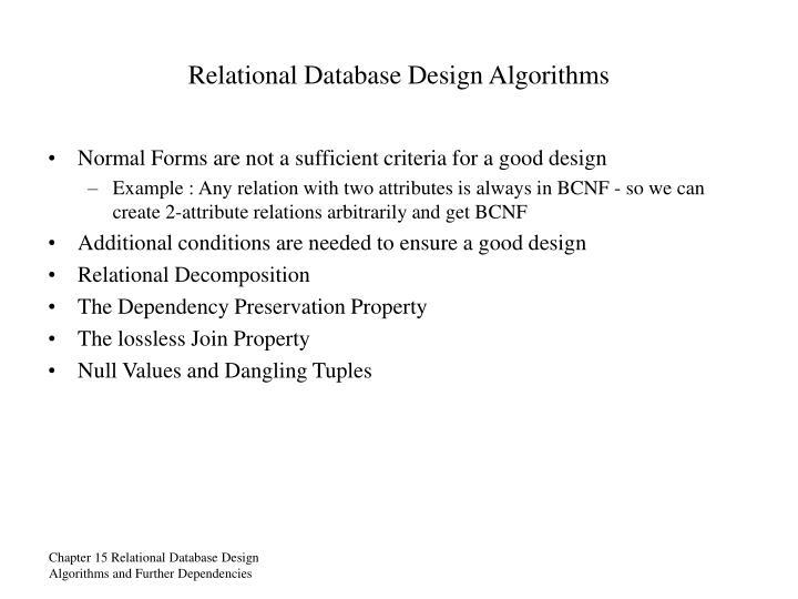 Relational Database Design Algorithms