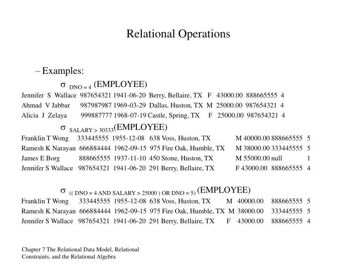 Relational Operations