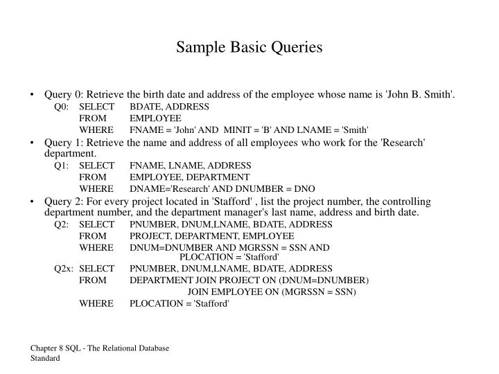 Sample Basic Queries