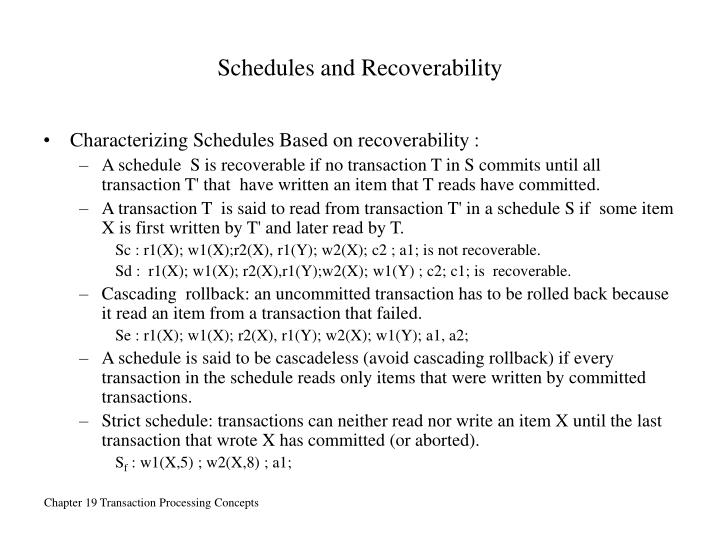Schedules and Recoverability