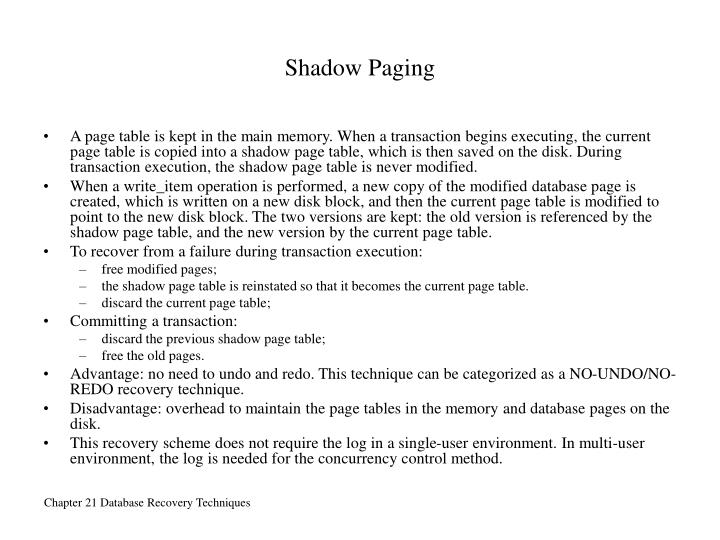 Shadow Paging