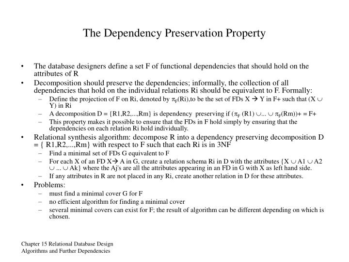 The Dependency Preservation Property