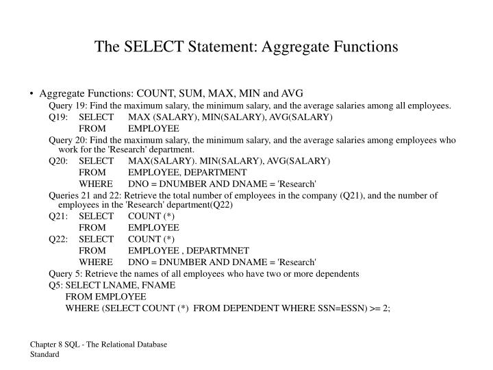 The SELECT Statement: Aggregate Functions