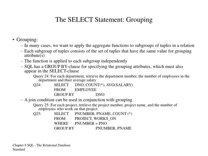 The SELECT Statement: Grouping