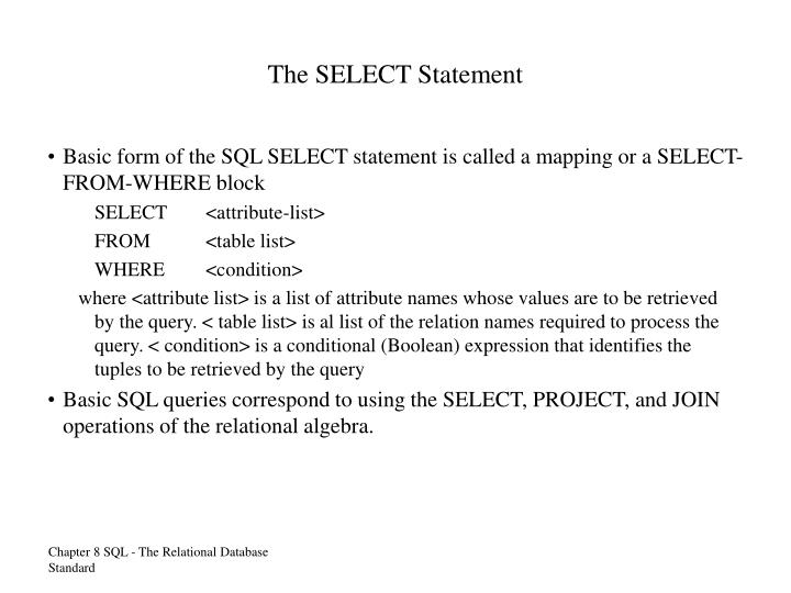 The SELECT Statement