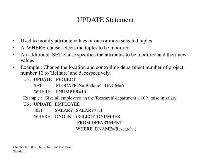 UPDATE Statement