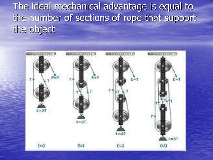 The ideal mechanical advantage is equal to the number of sections of rope that support the object