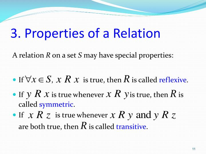 3. Properties of a Relation