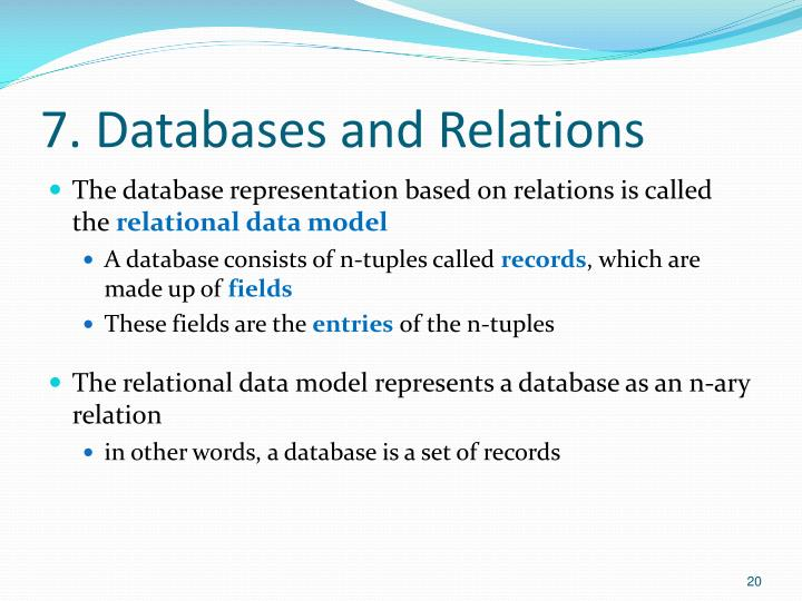 7. Databases and Relations