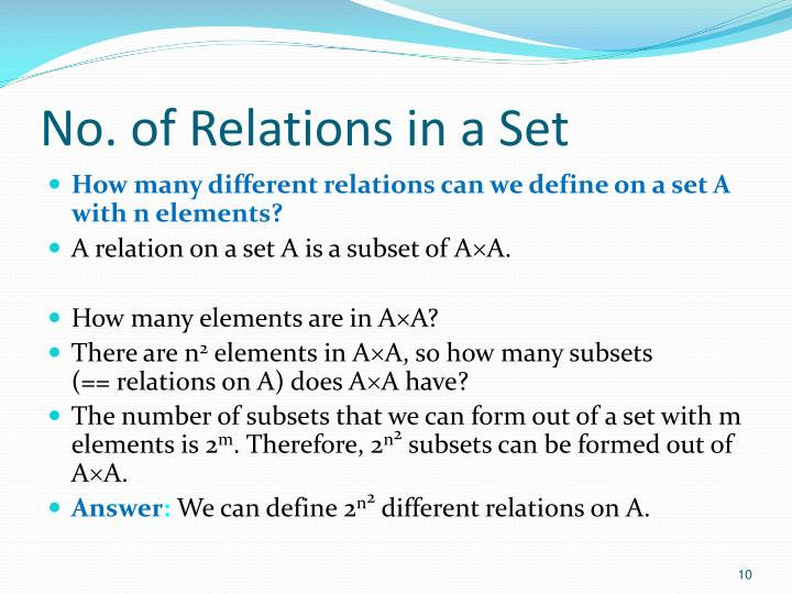 No. of Relations in a Set