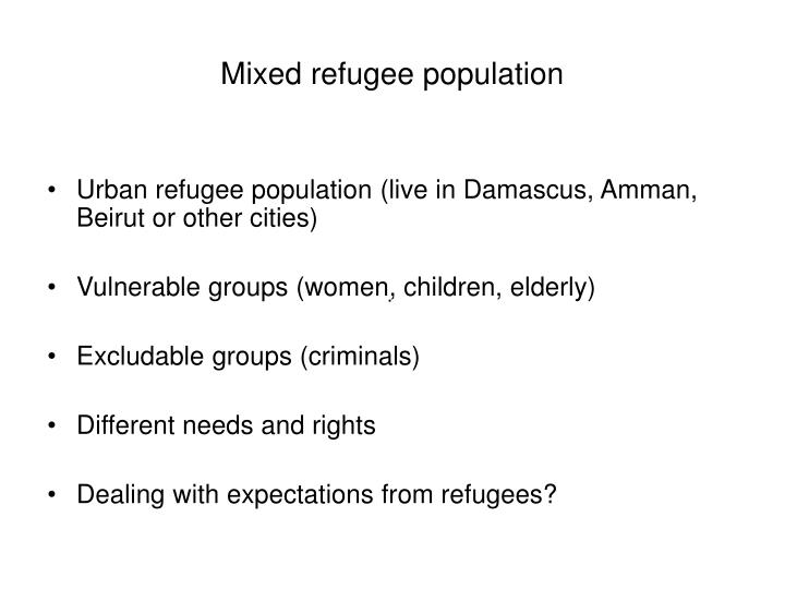 Mixed refugee population