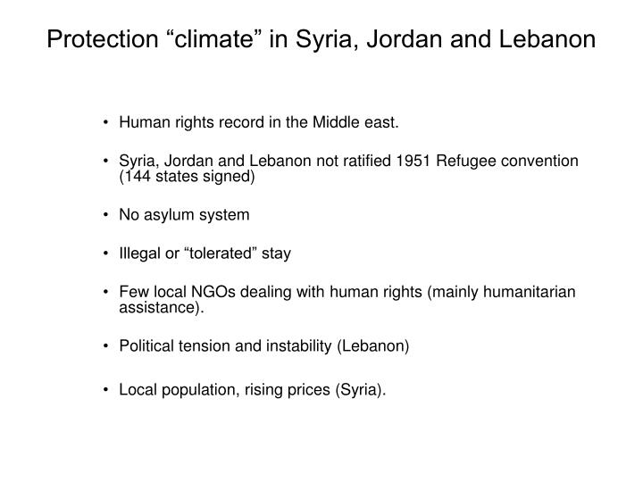 "Protection ""climate"" in Syria, Jordan and Lebanon"