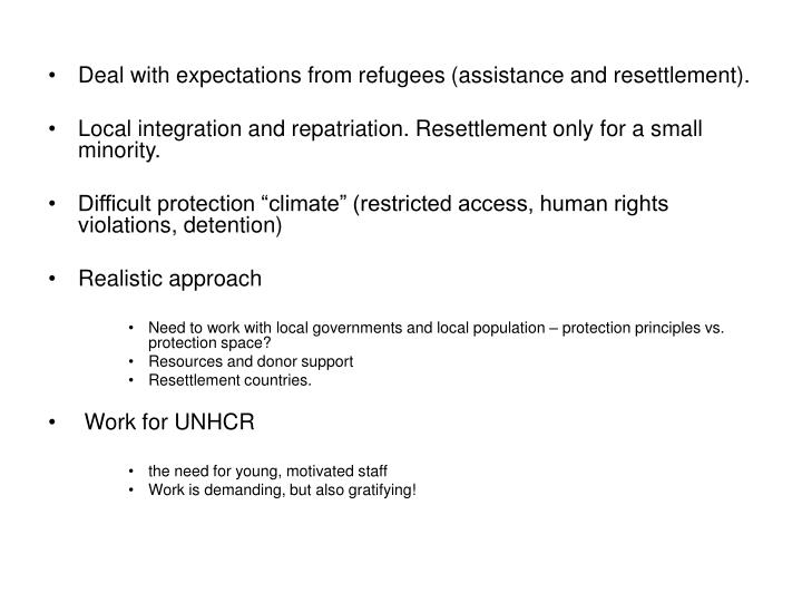 Deal with expectations from refugees (assistance and resettlement).