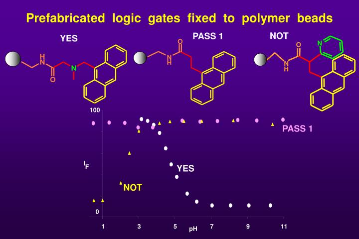 Prefabricated  logic  gates  fixed  to  polymer  beads