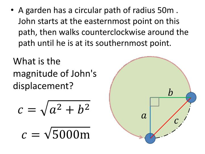 A garden has a circular path of radius 50m . John starts at the easternmost point on this path, then walks counterclockwise around the path until he is at its southernmost point