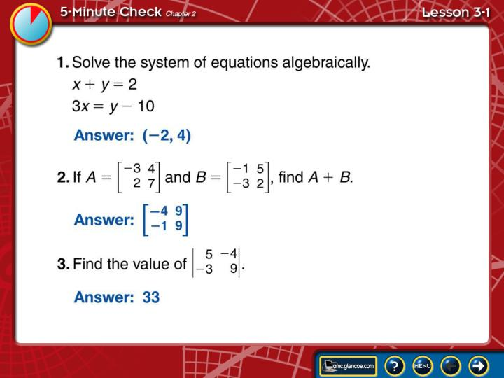 5-Minute Check Lesson 3-1A