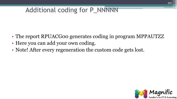 Additional coding for P_NNNNN