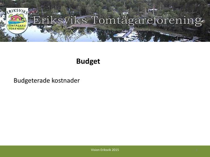 Budgeterade kostnader