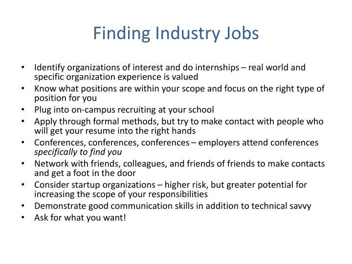 Finding Industry Jobs