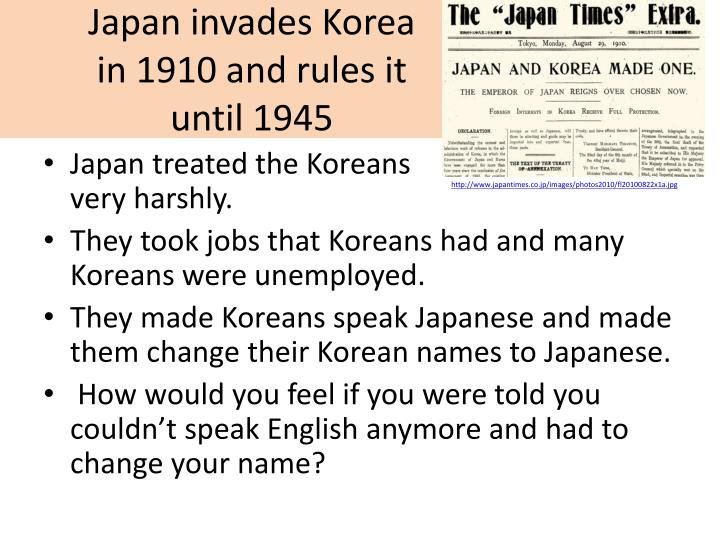 Japan invades Korea