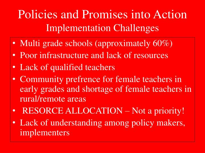 Policies and Promises into Action