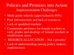 policies and promises into action implementation challenges