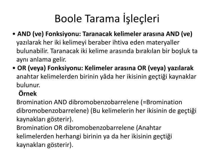 Boole Tarama İşleçleri