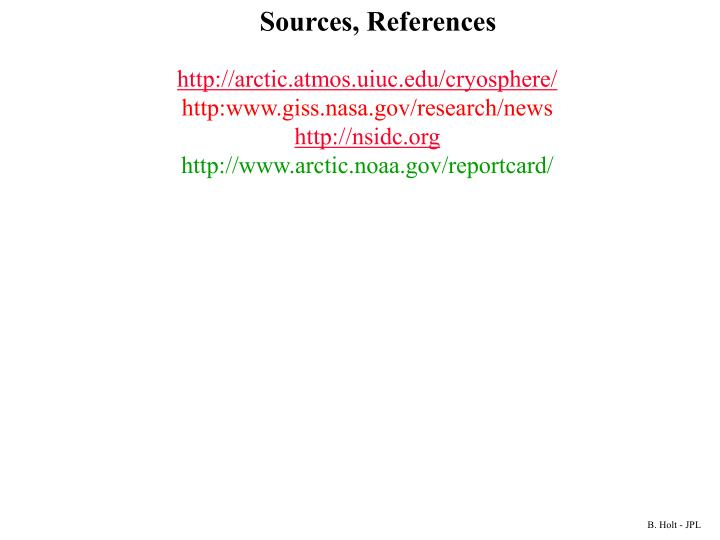 Sources, References