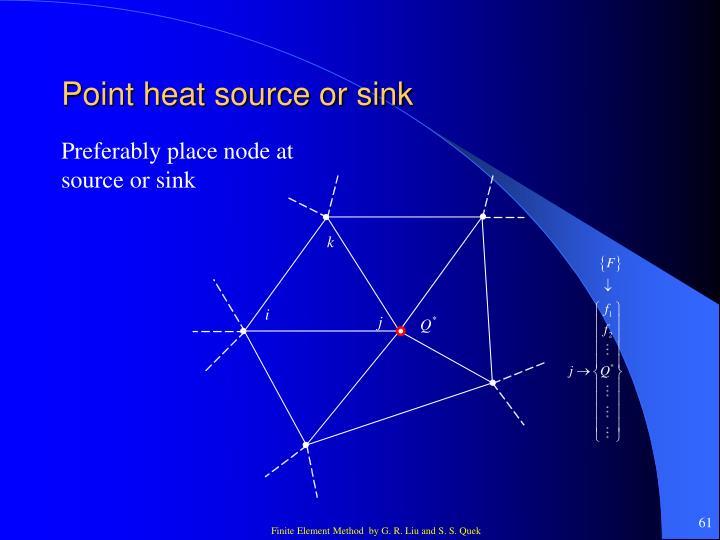 Point heat source or sink