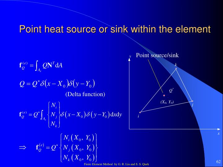 Point heat source or sink within the element