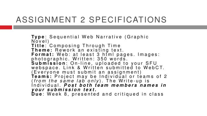 Assignment 2 specifications