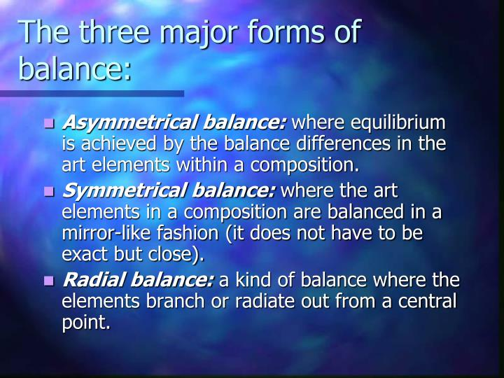 The three major forms of balance: