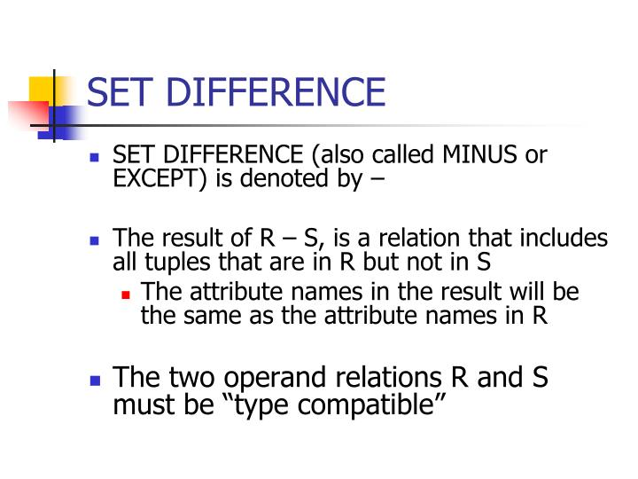 SET DIFFERENCE