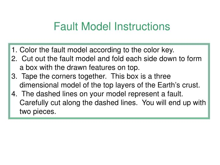 Fault Model Instructions