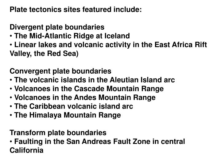 Plate tectonics sites featured include: