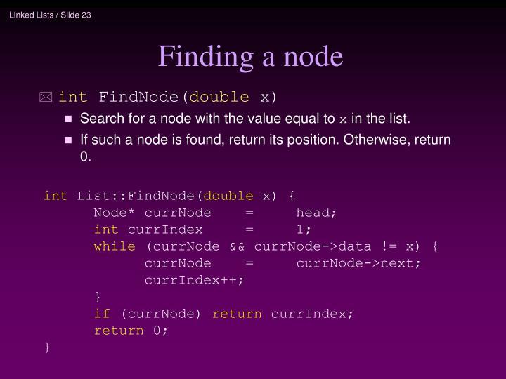 Finding a node