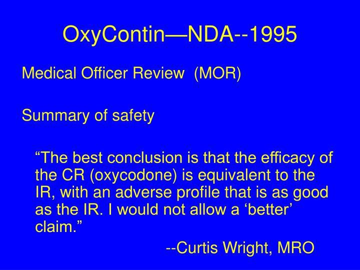 OxyContin—NDA--1995