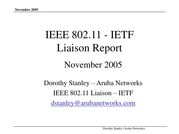 Ieee 802 11 ietf liaison report
