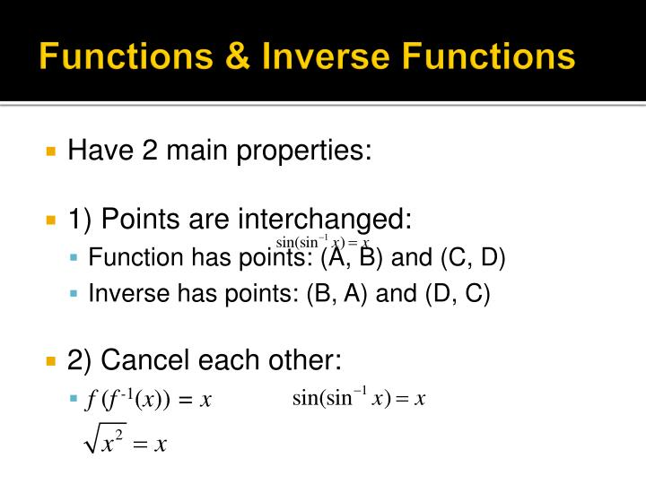 Functions inverse functions