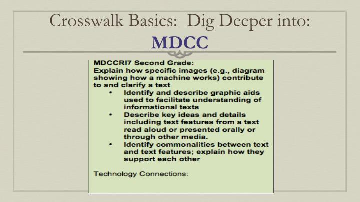Crosswalk Basics:  Dig Deeper