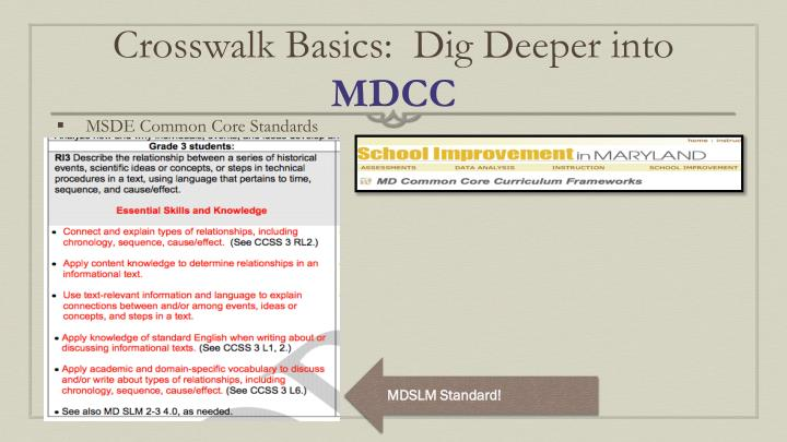 Crosswalk Basics:  Dig Deeper into