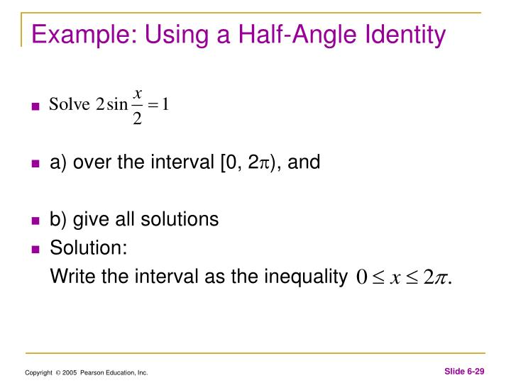 Example: Using a Half-Angle Identity