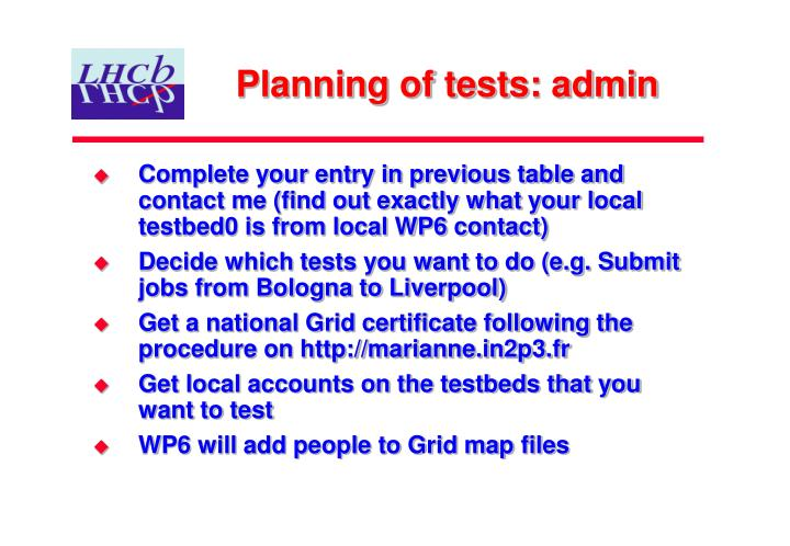 Planning of tests: admin