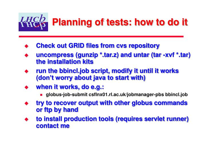 Planning of tests: how to do it