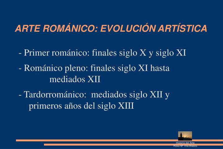 ARTE ROMÁNICO: EVOLUCIÓN ARTÍSTICA